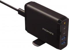 Сетевое зарядное устройство Promate CenterPort-2PD75 75 Вт, 2хUSB-C + 2xUSB-A Black (centerport-2pd75.black)