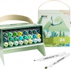 Спиртовые маркеры Arrtx Alp ASM-02GN 24 цвета Зеленые оттенки (LC302246)