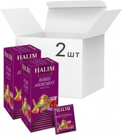 Упаковка черного чая Halim с ягодами и ароматом лесных ягод 2 пачки по 25 пакетов (4820229040764)