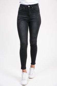 Чорні рвані джинси з високою посадкою - чорний колір, XS