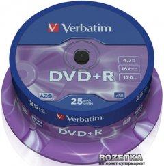 Verbatim DVD+R 4,7 GB 16x Cake Box 25 шт (43500)