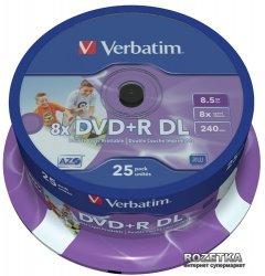 Verbatim DVD+R 8,5 GB DL 8x Printable Cake 25 шт (43667)