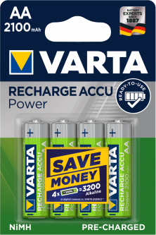 Аккумулятор универсальный Varta Rechargeable Accu AA 2100 мАч BLI 4 Ni-MH (56706101404) (4008496550692)