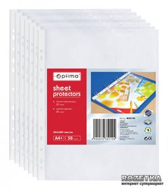 Набор файлов-карманов 50 шт Optima А4 (A4+) 80 мкм глянцевый Прозрачный (O35110)
