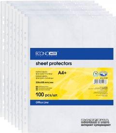 Файл-карман Economix А4 (A4+) 30 мкм глянцевый Прозрачный 100 шт (E31106)