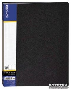 Папка пластиковая Economix А4 40 файлов Черная (30604-01)