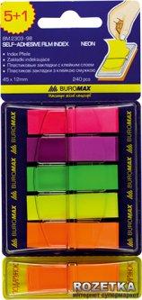 Стикеры-закладки пластиковые Buromax Neon 45х12 мм 5+1 блоков по 40 листов 5 цветов (BM.2303-98)