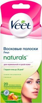 Восковые полоски для депиляции Veet Naturals для нормальной и сухой кожи лица с маслом ши 20 шт (4607109407349)