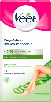 Восковые полоски для депиляции Veet для сухой кожи 12 шт (4680012390946)