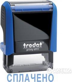 """Штамп стандартный Trodat Printy 4911 """"Сплачено"""" 38х14 мм 1 строка Синий корпус (4911 P4 синя)"""
