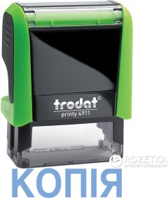 "Штамп стандартный Trodat Printy 4911 ""Копiя"" 38х14 мм 1 строка Зеленый корпус (092399431091) (4911 P4 зелен)"