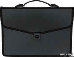 Портфель пластиковый Buromax Job на 3 отделения Черный (BM.3734-01)