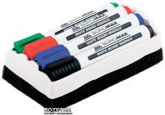 Набор маркеров Buromax 4 шт + губка для сухостираемых досок 2-4 мм (BM.8800-84)