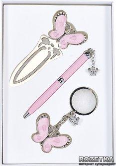 Набор подарочный (ручка шариковая + брелок + закладка) Langres Fly Розовый (LS.132001-10)