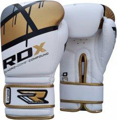 Боксерские перчатки RDX Rex Leather Gold 12 Бело-черные с золотистым (793_10122)