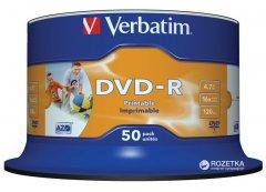 Verbatim DVD-R 4.7 GB 16x Cake 50 шт Printable (43533)