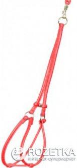 Шлея для собак кожаная Collar WAUDOG Glamour круглая, с поводком для мелких пород собак и кошек, Д 6 мм, XS, А 26-46 см, В 30-40 см (34013)
