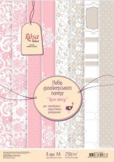 Набор дизайнерской бумаги Rosa Talent Love story А4 250 г/м2 8 листов (4823086701663)