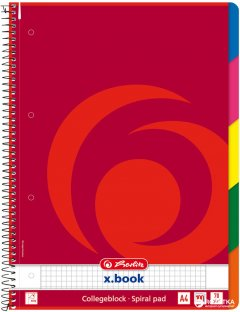 Блокнот Herlitz College Block A4 в клетку 100 листов с разделителями Красный (296491)