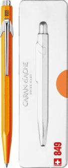 Ручка шариковая Caran d'Ache 849 Pop Line Fluo Синяя 0.7 мм Оранжевый корпус в подарочном футляре (7630002316781)