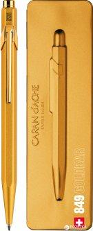 Ручка шариковая Caran d'Ache 849 Синяя 0.7 мм Золотистый корпус в подарочном футляре (7630002316828)