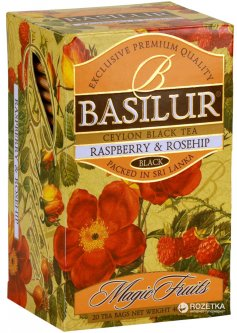 Чай черный в пакетиках Basilur Magic Fruits Малина и шиповник 20 шт х 2 г (4792252001084)