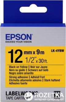 Картридж с лентой Epson LabelWorks LK4YBW9 Strong Adhesive 12 мм 9 м Black/Yellow (C53S654014)