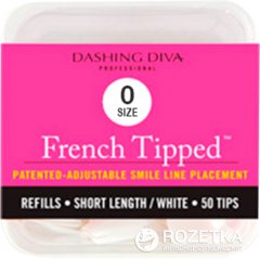 Типсы для моделирования френча Dashing Diva French Tipped Short White 0 размер 50 шт (096100082374)