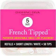 Типсы для моделирования френча Dashing Diva French Tipped Short White 5 размер 50 шт (096100082428)