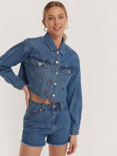 Джинсовая куртка NA-KD 1100-002913-0116 36 Синяя (88850000000169)