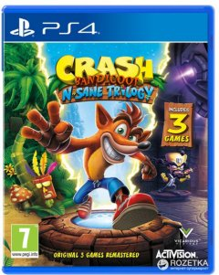 Игра Crash Bandicoot N'sane Trilogy для PS4 (Blu-ray диск, English version)
