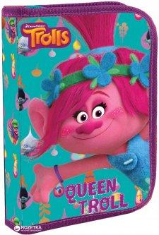 Пенал 1 Вересня Trolls одинарный с двумя клапанами Розовый (531521) (5056137101733)