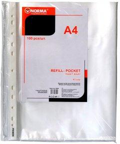 Набор файлов-карманов Norma А4+ 40 мкм глянцевый Прозрачный 100 шт (8591662570502)