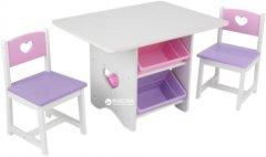 Детский стол KidKraft Table & Chair Set Heart Белый с розовым (26913)