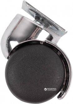 Мебельный ролик Smart 50 мм с площадкой с хромированной вставкой Черный (VR35777)