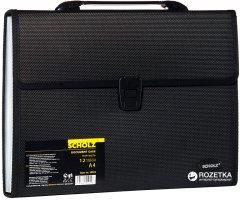 Портфель пластиковый Scholz А4 12 отделений с регистрами Черный (8591662050196)