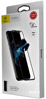 Защитное стекло Baseus Silk-Screen Arc Tempered Glass Film для Apple iPhone X White (SGAPIPHX-A3D02)