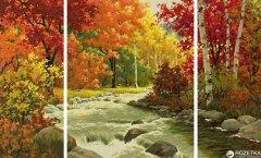"""Художественный творческий набор-триптих Schipper """"Осенняя река"""" 50х80 см (9260779) (4000887927793)"""