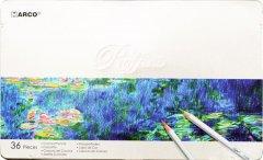 Карандаши цветные Marco Raffine 36 цветов в металлическом пенале (7100-36TN)