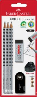 Набор графитовых карандашей Faber-Castell Grip 2001 твердостью 2B Серый 3 шт + точилка + ластик в блистере (217079)