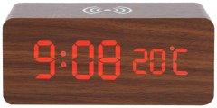 Настольные часы с беспроводной зарядкой UFT Wood Wireless clock