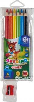 Карандаши Astra Astrino Jumbo трехгранные 6 цветов с точилкой (312115003) (5901137083292)