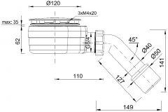 Сифон для душевых поддонов STYRON с гидрозатвором STY-ZA-90-K