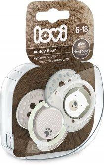 Пустышка Lovi силиконовая динамическая 6-18 месяцев 2 шт Buddy bear (22/865)