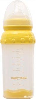 Стеклянная бутылочка для кормления Baby Team с широким горлом, с полипропиленовым чехлом и силиконовой соской 220 мл (1290)