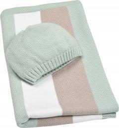 Плед + шапочка IDEIA Малыш 70x90 см Светло-зеленая полоса (4820182657566)