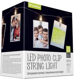 Светодиодная гирлянда СolorWay с прищепками для фото 30 LED/4.5 м (CW-LCP-30L45B)
