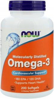 Жирные кислоты Now Foods Омега-3 1000 мг 200 желатиновых капсул (733739016522)