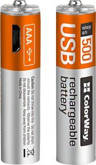Аккумулятор ColorWay AAА micro USB 400 мАч 1.5 В 2 шт (CW-UBAAA-01)