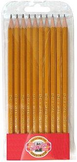 Набор графитных карандашей Koh-i-Noor 2Н-3В дерево корпус Желтый 10 шт (1570.1)